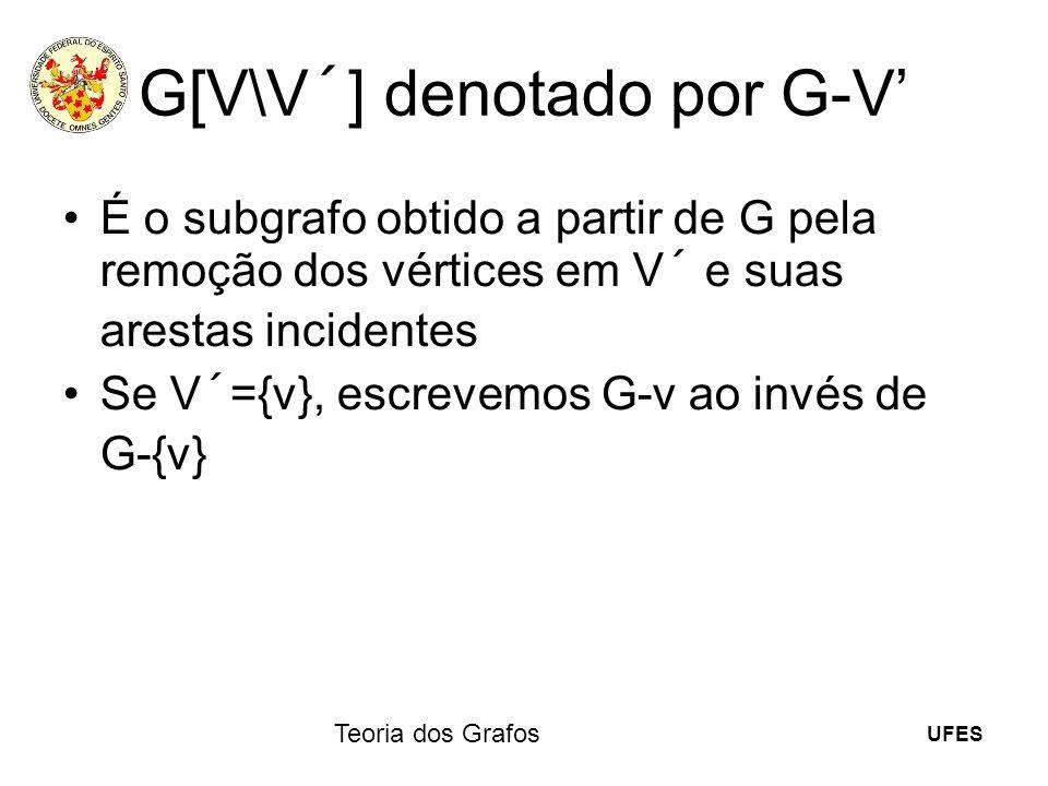 G[V\V´] denotado por G-V'